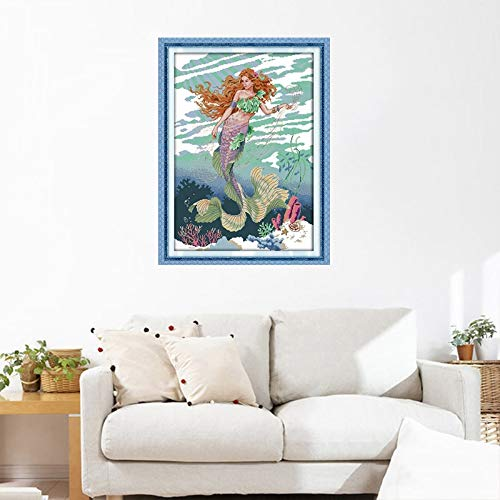 (Zamtac Cross Stitch Mermaid Pattern 11CT 14CT Cenery Cotton DIY Handmade Needlework Portrait Patterns Counted and Stamped - (Cross Stitch Fabric CT Number: 14CT Unprinted))