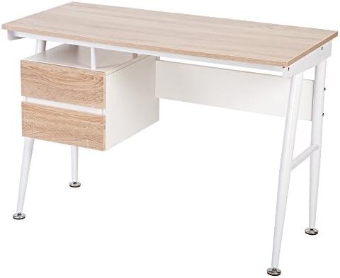 Vida Carver blanco y roble mesa de ordenador escritorio de oficina ...