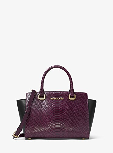 Michael Kors Selma Embossed Leather Satchel Handbag Damson/Black 30F7GLMS2E-BLK/DM by MICHAEL Michael Kors