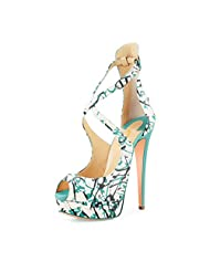 FSJ Women Sexy Cross Ankle Straps Peep Toe Pumps Platform Stiletto High Heel Party Shoes Size 4-15 US