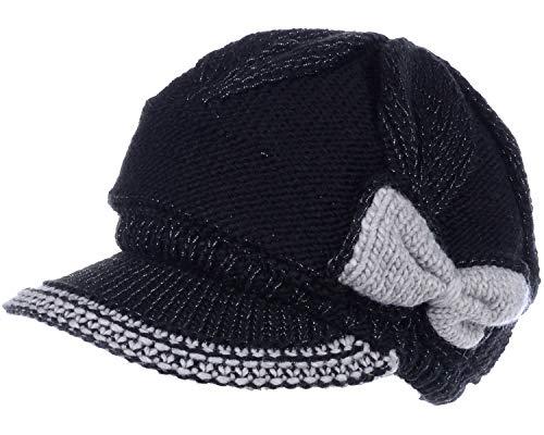 - BYOS Womens Winter Warm Fleece Lined Knitted Beret Beanie Hat Cap w/Visor Peak (Contrast Bow Black)