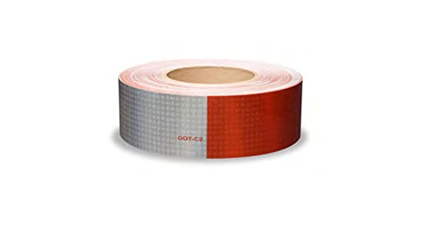 "WHITE /&  RED Reflective   Conspicuity Tape 2/"" x  25 feet 7-11"