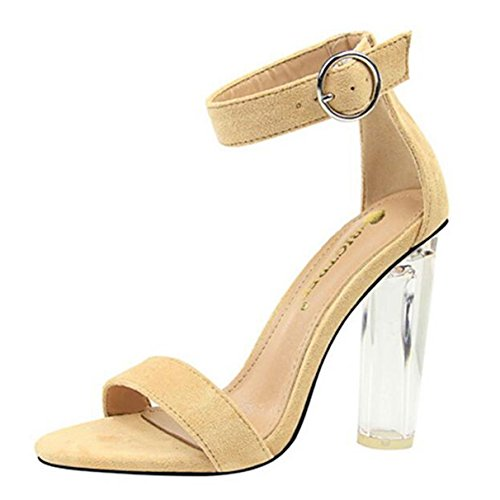 Women Pumps, Concise Transparent Crystal Flock Belt Buckle Open Toe Sandal (New Belt Bling Buckle Crystal)