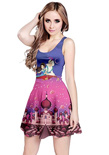 CowCow Womens Arabian Nights Unicorn Seamless Sleeveless Skater Dress, XL -