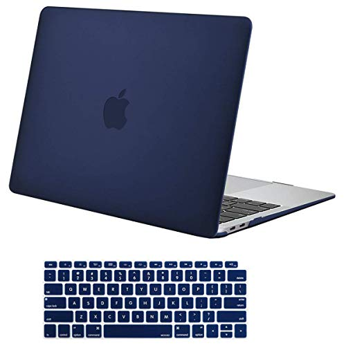 MOSISO MacBook Air 13 Inch Case 2018 Release A1932 with Retina Display, Plastic Hard Case Shell & Keyboard Skin Cover Only Compatible Newest MacBook Air 13 with Touch ID, Navy Blue