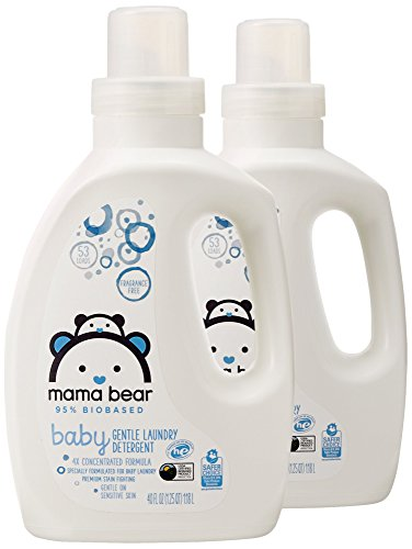 Mama Bear Gentle Baby Laundry Detergent, 95% Biobased, Fragrance Free, 106 Loads (Pack of 2, 53 Loads Each)