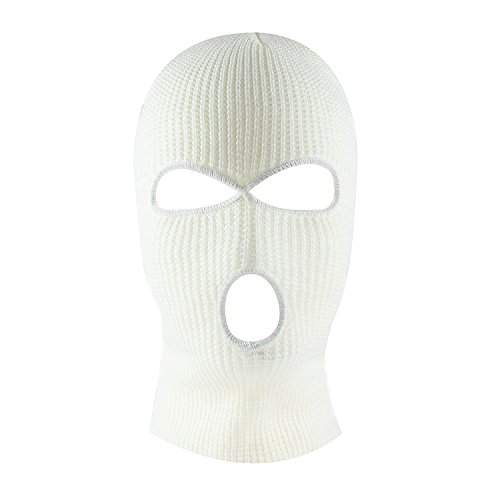 Knit Sew Acrylic Outdoor Full Face Cover Thermal Ski Mask by Super Z Outlet, White, One Size Fits Most ()