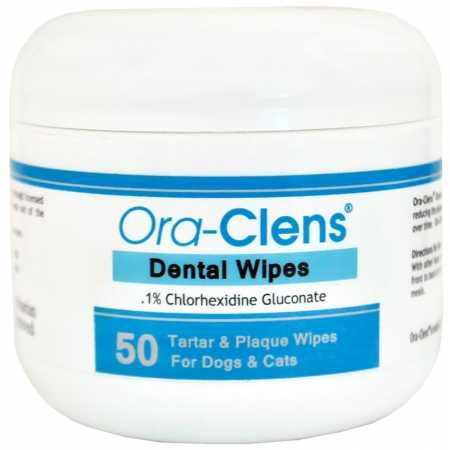 Ora-Clens Dental Wipes Dogs Cats - Reduce Plaque, Tartar Bacteria - Optimize Oral Health - Freshen Breath - 50 Count