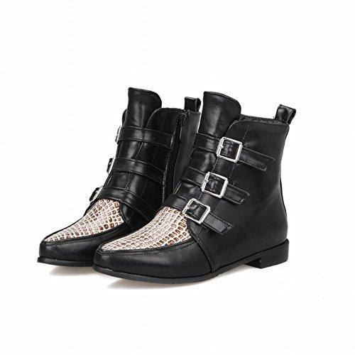Carolbar Womens Mode Confort Rétro Boucles Zipper Neutre Bas Talon Bottes Courtes Noir