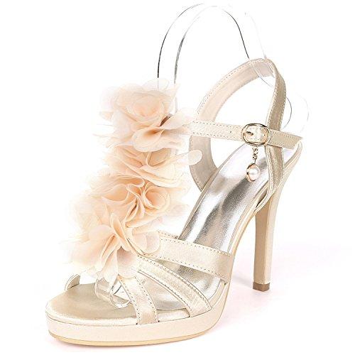 Flores Champagne L Del Las Mid Dance Estilete Altos Seda Zapatos yc De Boda Hebilla Mujeres Tacones 11cm Toes Peep Satén FTFHZqrn