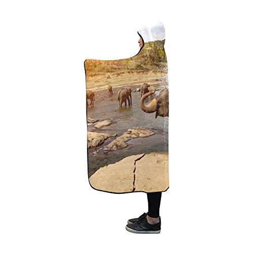 YUMOING Hooded Blanket Elephants Bathing River National Park Pinnawala Blanket 60x50 Inch Comfotable Hooded Throw Wrap