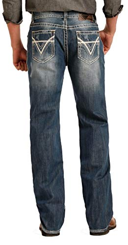 Rock & Roll Cowgirl Heavy Embroidered Riding Dark Vintage Wash Jean, 36x34 ()
