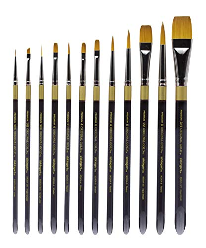 KINGART 1000D Original Gold-Golden TAKLON Acrylic Handle Set of 12 Paint Brush Set Assorted Black, Silver
