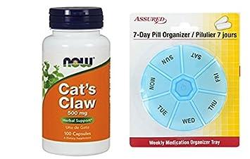 AHORA la uña de gato 500 mg, 100 cápsulas con gratis 7 días plástico píldora