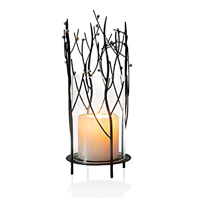 ELEGAN Black Table Top Metal Glass Hurricane Candle Holder