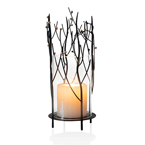 ELEGAN Black Table Top Metal Glass Hurricane Candle Holder