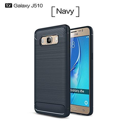 SRY Caso pulido a prueba de choques del apretón del silicón de la armadura ligera de la fibra de carbono de TPU para Samsung Galaxy J5 2016 J510 ( Color : Gray ) Navy