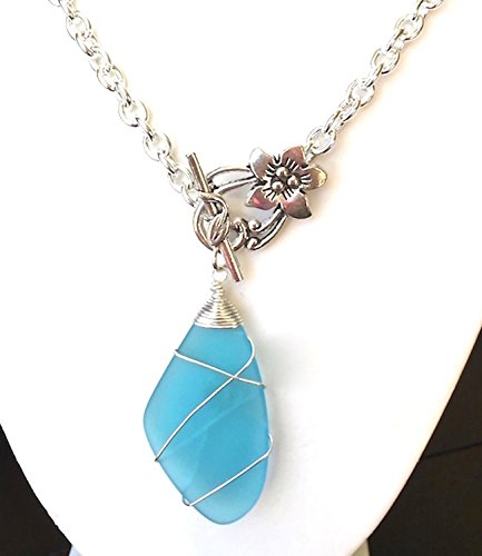 Handmade Sea Glass Neckalce Blue Sundial Silver Chunky Chain Flower Toggle Clasp Wire Wrapped ()