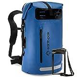Earth Pak mochila impermeable: 35L Heavy Duty ROLL-TOP cierre con fácil acceso front-zippered bolsillo y panel trasero acolchado acolchadas para un confort; IPX8Impermeable teléfono celular incluidos