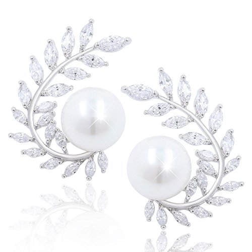 Silver Olive Leaf CZ Marquise Cluster Pearl Stud Wedding Earrings for Women, Bridesmaid Gifts ()