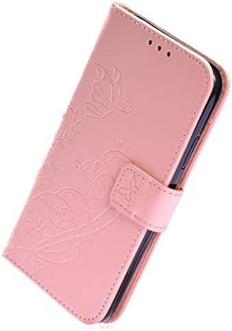 Herbests Kompatibel mit Huawei P20 Handyhülle Ledertasche Book Case Retro Schmetterling Blumen Muster Lederhülle Handytasche Leder Tasche Wallet Flip Cover mit Kartenfächer,Rosa