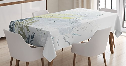 Ambesonne Country Decor Tablecloth, Wild Herb Grass Field Distressed Background with Dragonflies Deep Lifestyle Graphic Work, Rectangular Table Cover for Dining Room Kitchen, 52x70 Inches, Grey Green