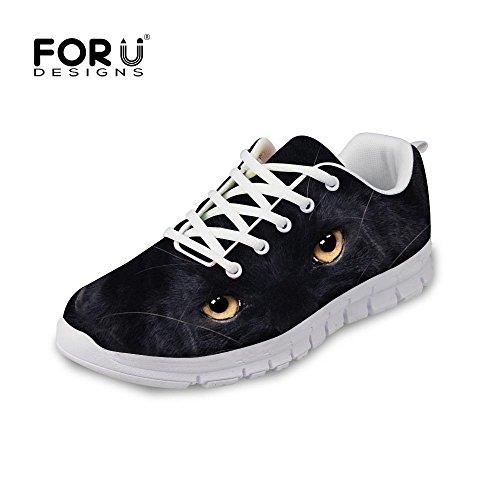 Voor U Ontwerpen Mode Tijger Wolf Dier Stijl Heren & Vrouwen Lichtgewicht Mesh Loopschoenen Zwarte Wolf