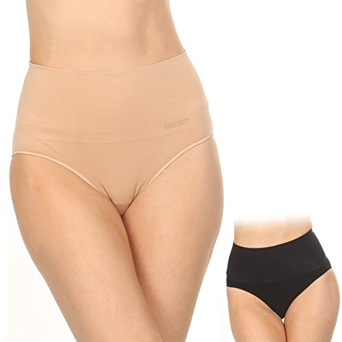 Laundry by Shelli Segal Seamless High Waist Shapewear Briefs 2 Pack Nude/ Black Size (Lace High Leg Brief)