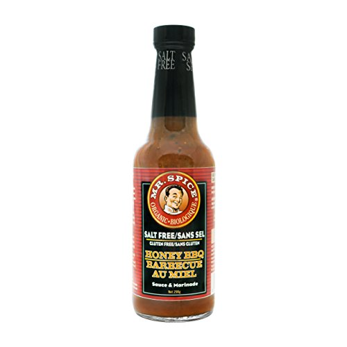 Mr. Spice Organic Honey BBQ Sauce - Salt-Free Barbecue Sauce - Fat-Free Marinade - Gluten-Free - Vegetarian - Low Calorie