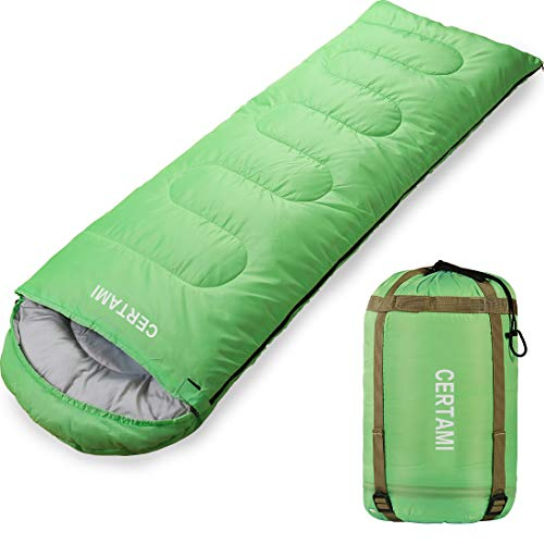 CERTAMI Sleeping Bag for Adults, Girls & Boys, Lightweight Waterproof Compact, Great for 4 Season Warm & Cold Weather, Perfect for Outdoor Backpacking, Camping, Hiking. (Green/Right Zip)