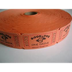 2000 Orange Good For One Drink Single Roll Consecutively Numbered Raffle Tickets