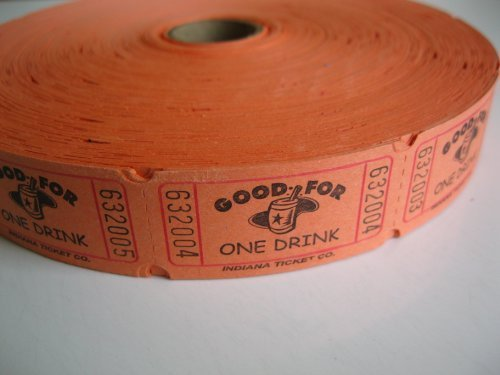 2000 Orange Good For One Drink Single Roll Consecutively Numbered Raffle Tickets for $<!--$7.99-->