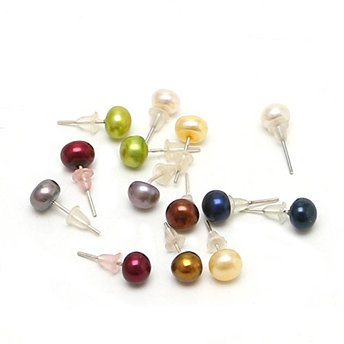Wivily Round Freshwater Pearl Ball Bead Stud Earings Set for Women Girls (7 Pair) ()