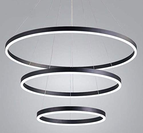 (Yd&h LED Pendant Lights, Modern and Simple Acrylic Chandelier, Fashion Three-Circle Circular Pendant Lamp for Living Room Bedroom Study (Color : Black, Design : White Light))