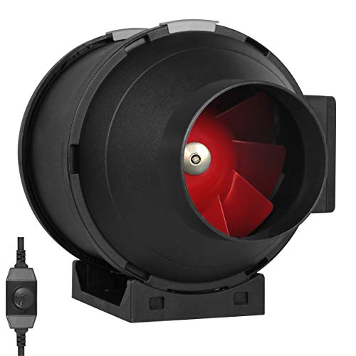 CFM Exhaust Duct Fan, Built-in Speed Controller, ETL Listed, Pre-Wired 6 FT Grounded Cord - Great Use in Grow Tent with Carbon Filters, Light Fixtures, Intake. Fits 4 Inch Ducts. ()