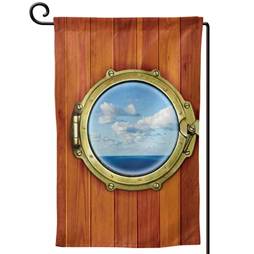 Square Porthole Mirror - lsrIYzy Garden Flag,Porthole Wooden Background Window Ship Old Sailing Vessel Print,12.5x18.5 inch