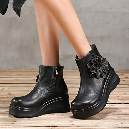 Yan Cuero Mayor Botas Mujer Flor Zapatos Botines De Vintage Plataforma Invierno Negro Otoño Casuales PPq0rwz