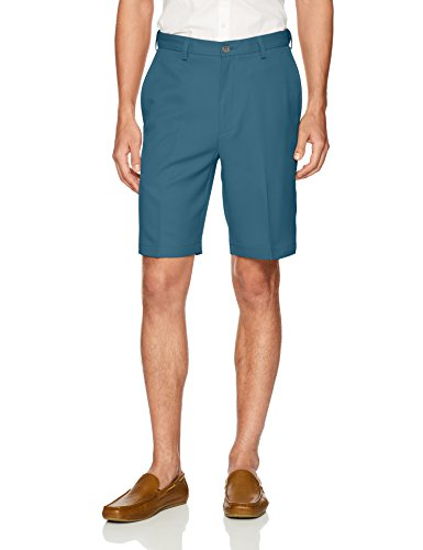 Haggar Men's Cool 18 Pro Straight Fit Stretch Solid Flat Front Short, Teal, ()