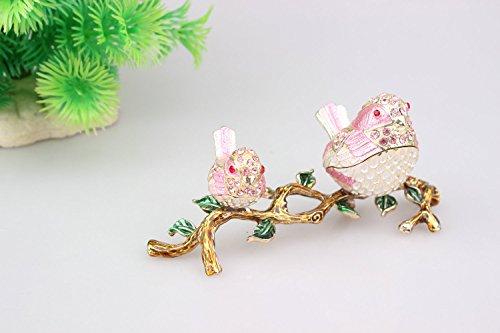 Giftware Birds Figurine Statue Jewelry Box Happy Birthday Metal Hinged Trinket Box (Pink)