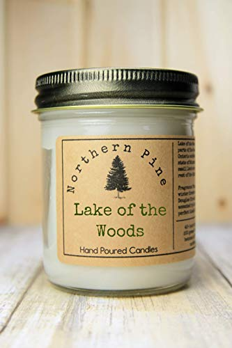 Lake of the Woods Scented Candle. Your Choice of 6 Scents: Island Pines, Forest of Fir, Balsam Trail, Fresh Pine, Cedars on the Shore, Twigs of Spruce. Choose 8 or 12 oz. Hand poured blended soy.