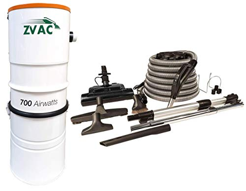 ZVac Central Vacuum System with 700 Air watts 26.5 L Tank Capacity Power Unit Vac – Model ZCVS-1 Central Cleaner with Central Vacuum Accessories Kit Electric Powerhead Nozzle ZPH-33 & 30 ft Hose