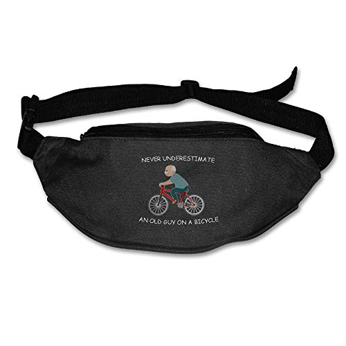 Ada Kitto Never Underestimate An Old Guy On A Bicycle Mens&Womens Lightweight Travel Waist Bag For Running And Cycling Black One Size by Ada Kitto