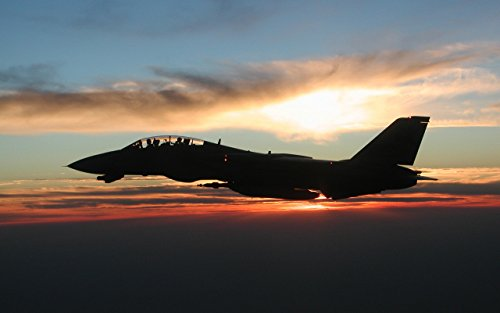 Military F-14 Tomcat Sunset - 24X36 Poster - F-14 Tomcat Wall