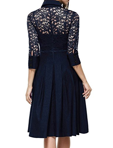 Vintage A Navy Women's line Classic Lace Sleeve 4 3 Stitching Dress Collar BellyLady 6Yzqw7w