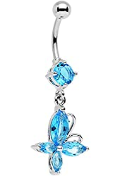 Body Candy Stainless Steel Light Blue Accent Butterfly Dangle Belly Ring
