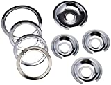 Range Kleen - Chrome Style D contains (3) 6' pan/ring & (1) 8' pan/ring for GE, Hotpoint, & Kenmore prior to 1995