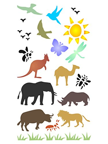 Wild Animal Stencils (Animal Bullet Journal Stencil - 4 x 7 inch - Reusable Wild Animal Bird Insect Stencil Template - Use on Scrapbook Journal Photo Albums Notebooks A5 Journals Bible Journaling Day Planner Calendar etc.)
