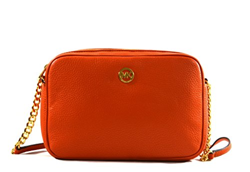 Michael Kors Fulton Large East West Leather Crossbody Bag Purse (Tangerine) by Michael Kors