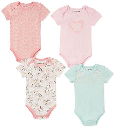Calvin Klein Baby Girls 4 Pieces Pack Bodysuits, Rose/Print/Blue Pool, 12M]()