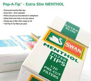 Swan Menthol Extra Slim Filter Tips Full Box 20 Packs Of 120 = 2400 Tips